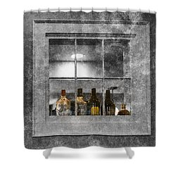 Shower Curtain featuring the photograph Colored Bottles In Window by Tom Singleton