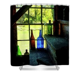 Shower Curtain featuring the photograph Colored Bottles On Steps by Susan Savad