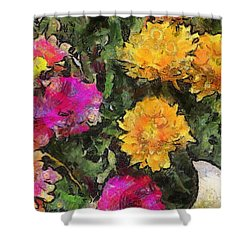 Colored Flowers Shower Curtain