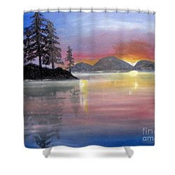 Shower Curtain featuring the painting Colored Lake by Saundra Johnson