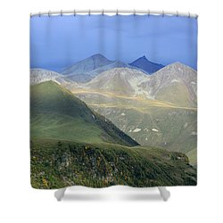 Colored Peaks Of The Caucasus Shower Curtain by Arik Baltinester
