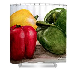 Colored Peppers Shower Curtain