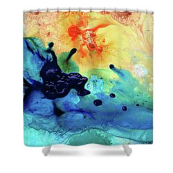 Shower Curtain featuring the painting Colorful Abstract Art - Blue Waters - Sharon Cummings by Sharon Cummings