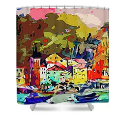 Colorful Abstract Italy Portofino Impression Shower Curtain