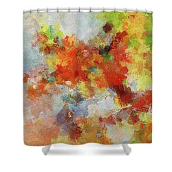 Shower Curtain featuring the painting Colorful Abstract Landscape Painting by Ayse Deniz