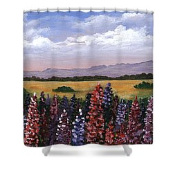 Shower Curtain featuring the painting Colorful Afternoon by Anastasiya Malakhova