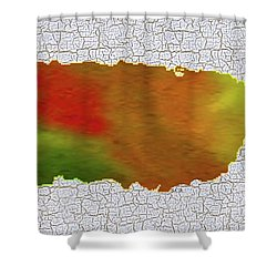 Colorful Art Puerto Rico Map Shower Curtain