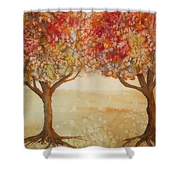 Shower Curtain featuring the painting Colorful Autumn Twin Trees by Kerri Ligatich