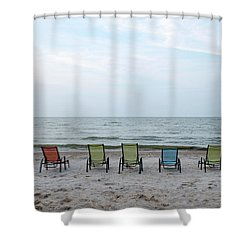 Colorful Beach Chairs Shower Curtain