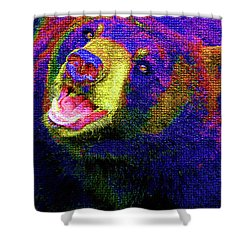 Colorful Bear Shower Curtain by Karol Livote