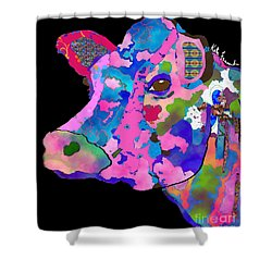 Colorful Bessie The Cow  Shower Curtain by Kate Farrant
