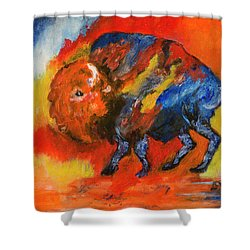 Colorful Bison Shower Curtain