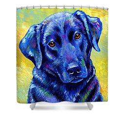 Colorful Black Labrador Retriever Dog Shower Curtain