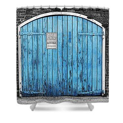 Colorful Blue Garage Door French Quarter New Orleans Color Splash Black And White And Poster Edges Shower Curtain by Shawn O'Brien