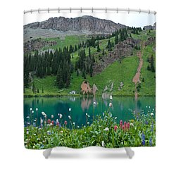 Shower Curtain featuring the photograph Colorful Blue Lakes Landscape by Cascade Colors