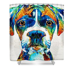Shower Curtain featuring the painting Colorful Boxer Dog Art By Sharon Cummings  by Sharon Cummings