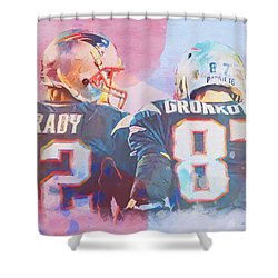 Shower Curtain featuring the painting Colorful Brady And Gronkowski by Dan Sproul