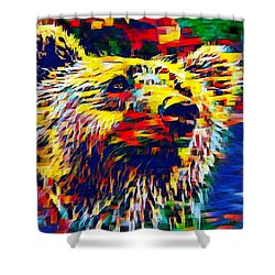 Colorful Brown Bear Shower Curtain