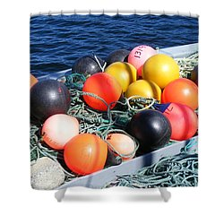 Colorful Buoys Shower Curtain by Barbara Griffin