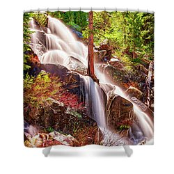 Colorful Cascade Waterfall On Tioga Pass Ap Shower Curtain