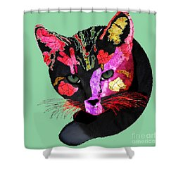 Colorful Cat Abstract Artwork By Claudia Ellis Shower Curtain