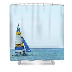 Colorful Catamaran 3 Delray Beach Florida Shower Curtain
