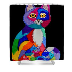 Colorful Cats And Kittens Shower Curtain