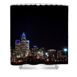 Colorful Charlotte, North Carolina Skyline Shower Curtain by Serge Skiba