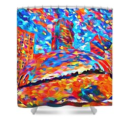 Shower Curtain featuring the painting Colorful Chicago Bean by Dan Sproul
