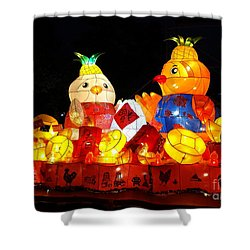 Shower Curtain featuring the photograph Colorful Chinese Lanterns In The Shape Of Chickens by Yali Shi