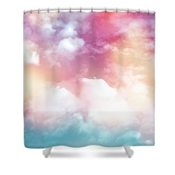 Colorful Clouds With Lens Flare Shower Curtain