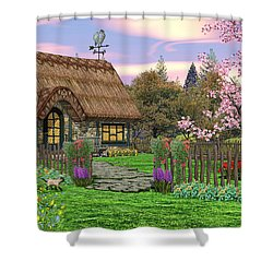 Colorful Country Cottage Shower Curtain by Walter Colvin