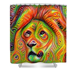 Colorful Crazy Lion Deep Dream Shower Curtain