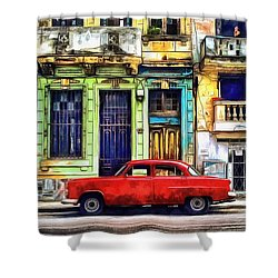 Shower Curtain featuring the painting Colorful Cuba by Edward Fielding