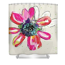 Shower Curtain featuring the mixed media Colorful Daisy- Art By Linda Woods by Linda Woods