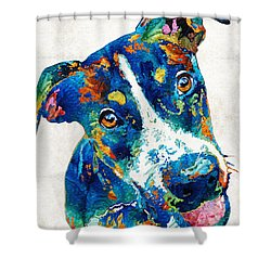 Colorful Dog Art - Happy Go Lucky - By Sharon Cummings Shower Curtain