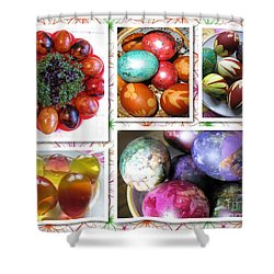 Shower Curtain featuring the photograph Colorful Easter Eggs Collage 07 by Ausra Huntington nee Paulauskaite