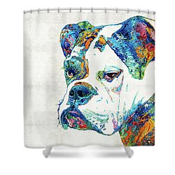Shower Curtain featuring the painting Colorful English Bulldog Art By Sharon Cummings by Sharon Cummings