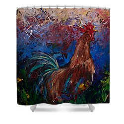 Colorful Expressionist Crowing Rooster  Shower Curtain