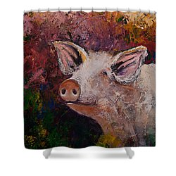 Colorful Expressionist Pig Pakket Knife Painting Shower Curtain