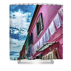 Colorful Facade With Laundry In Burano Shower Curtain