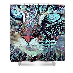 Colorful Flower Cat Art - A Cat Called Blue Shower Curtain by Peggy Collins