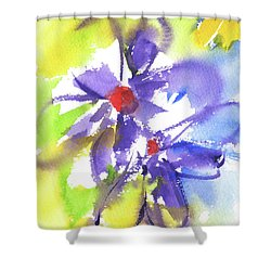 Colorful Flower Shower Curtain by Kathleen McElwaine