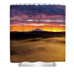 Colorful Foggy Sunrise Over Sandy River Valley Shower Curtain