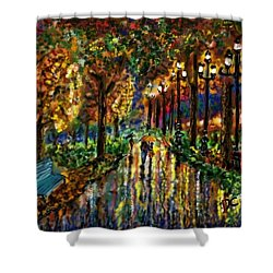 Shower Curtain featuring the digital art Colorful Forest by Darren Cannell