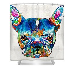 Colorful French Bulldog Dog Art By Sharon Cummings Shower Curtain