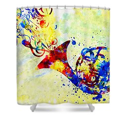 Colorful French Horn Shower Curtain by Olga Hamilton