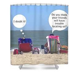 Shower Curtain featuring the photograph Beach Humor Colorful Friends by Suzanne Powers