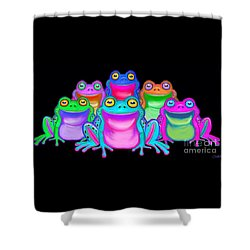Shower Curtain featuring the painting Colorful Froggies by Nick Gustafson