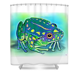 Shower Curtain featuring the painting Colorful Froggy by Nick Gustafson